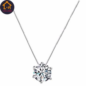 Better One G-20-012 Silver Clavicle Chain Zircon Pendant Necklace (Silver) - 2