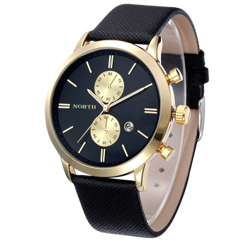 Bigskyie Fashion Men Casual Waterproof Date Leather Military Japan Watch Gift Black Gold - Intl Price Philippines