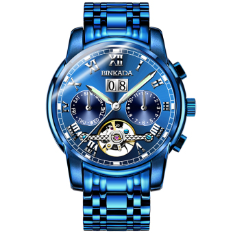 BINKADA blue stainless steel waterproof full watch