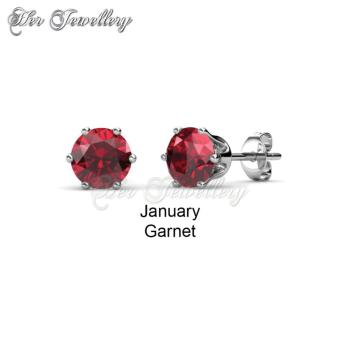 Birth Stone Earrings (January) - Crystals from Swarovski