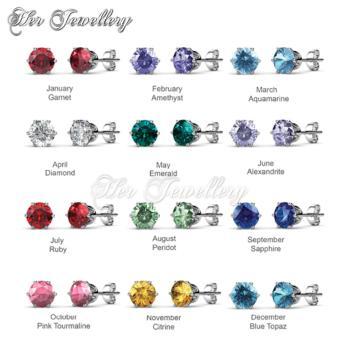 Birth Stone Earrings (January) - Crystals from Swarovski - 2