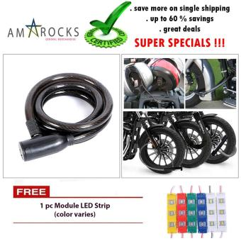Black Anti Theft Motorcycle Bike Scooter Spiral Coil Cable Lock for Yamaha Mio Soul i 125
