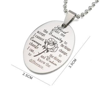 Black Enamel Silver Tone Stainless Steel English Serenity PrayerDog Tag Pendant Necklace 60 CM - intl - 3