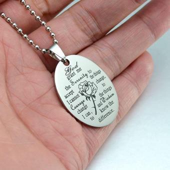 Black Enamel Silver Tone Stainless Steel English Serenity PrayerDog Tag Pendant Necklace 60 CM - intl - 5