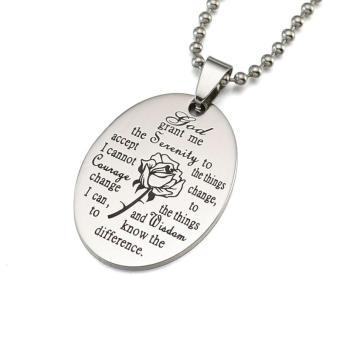 Black Enamel Silver Tone Stainless Steel English Serenity PrayerDog Tag Pendant Necklace 60 CM - intl - 2