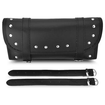 Black PU Leather Motorcycle Motorbike Front Rear Fork Tool BagHandlebar Bags Luggage Saddlebag - intl - 2