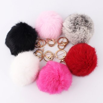 Black Rabbit Fur Ball PomPom Cell Phone Car Keychain PendantHandbag Charm Key Ring - 2