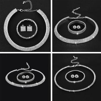 Blackhorse DuoTang Sale Hot Rhinestone Crystal Choker Necklace Earrings and Bracelet Jewelry Sets Wedding Accessories -Two Circle Round Diamond - intl - 2