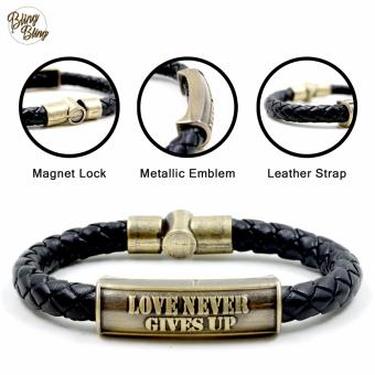 "Bling Bling ""Love Never Gives Up"" Leather Bracelet (Black) Price Philippines"