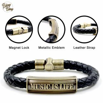 "Bling Bling ""Music is Life"" Leather Bracelet (Black)"