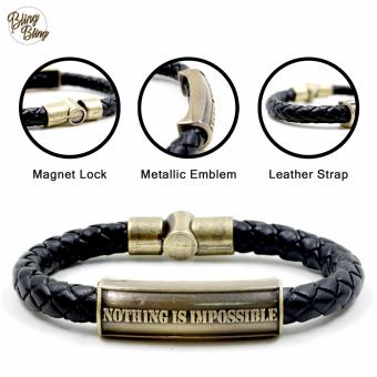 "Bling Bling ""Nothing is Impossible"" Leather Bracelet (Black)"