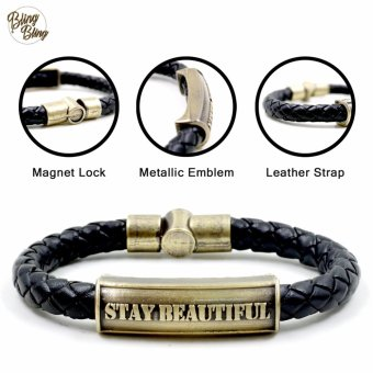 "Bling Bling ""Stay Beautiful"" Leather Bracelet (Black)"