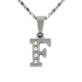 Bling Bling Alphabet Necklace Letter F (Silver)