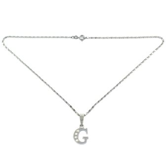 Bling Bling Alphabet Necklace Letter G (Silver) - picture 2