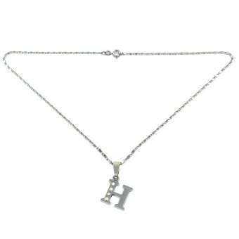 Bling Bling Alphabet Necklace Letter H (Silver) - picture 2