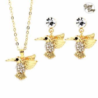 Bling Bling Bird Earrings and Necklace Jewelry Set (Gold)