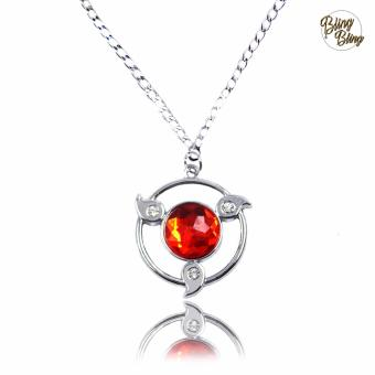 Bling Bling Naruto Shippuden Sharingan Fashionable Pendant Necklace (Silver/ Red)