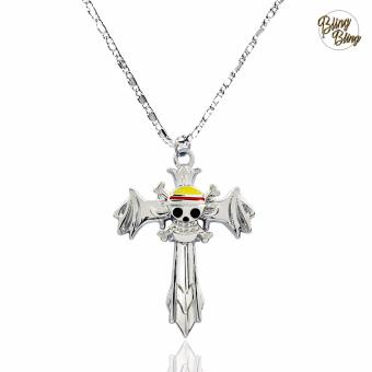 Bling Bling One Piece Anime Straw Hat Pirate Cross Fashionable Pendant Necklace (Silver)