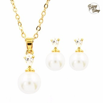 Bling Bling Pearl Drop Necklace with Earrings Jewelry Set (Gold)