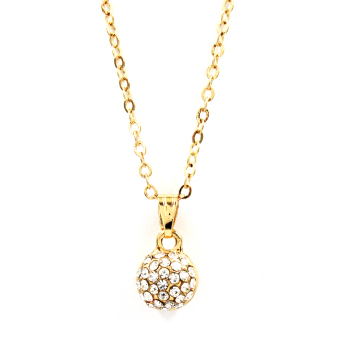 Bling Bling Round Earrings and Necklace Jewelry Set (Gold) - 3