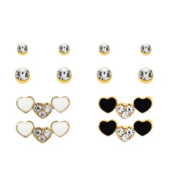 Bling Bling Triple Heart Gold Earrings Pair of 6