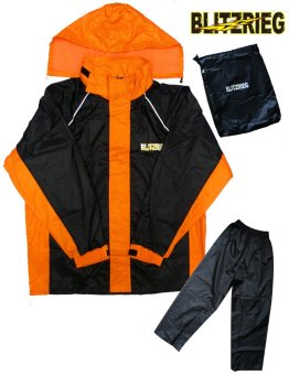 Blitzkrieg(R) MJ-Series MJ-51 Motorcycle Ultra Durable RainCoat &Jacket Set With Pants Touring (Neon Orange)