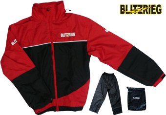 Blitzkrieg(R) MJ-Series MJ-55 Motorcycle Ultra Durable RainCoat &Jacket Set With Pants Touring (Red)