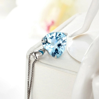 Blue Topaz Pendant Gemstone Jewelry 925 Sterling Silver Necklace Heart Women Romantic Gift - 2