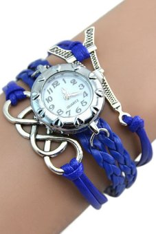 Bluelans Eight Love Charm Faux Leather Bracelet Wrist Watch Blue