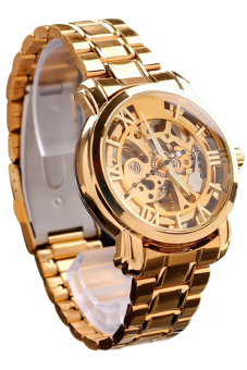 Bluelans Hollow Skeleton Mechanical Watch (Rose Gold)