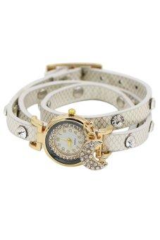 Bluelans Star Moon Women's White Leather Watch