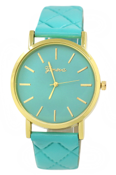 Bluelans Unisex Mint Green Checkers Faux Leather Analog Watch