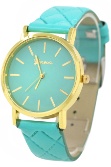 Bluelans Unisex Mint Green Checkers Faux Leather Analog Watch - picture 2