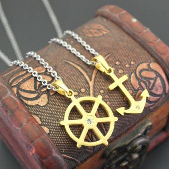 Boat Anchor Couples Necklaces Navy Style Accessories with TitaniumStainless Steel No Fade Lovers Pendant Necklace(Black) - intl