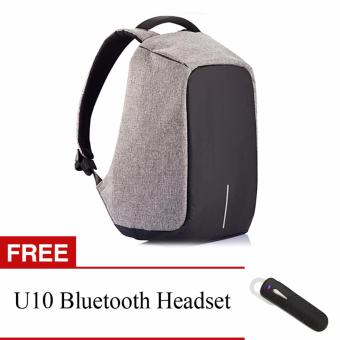 BOBBY Anti-Theft Backpack by XD Design (Grey) with FREE U10Bluetooth Headset (Black)