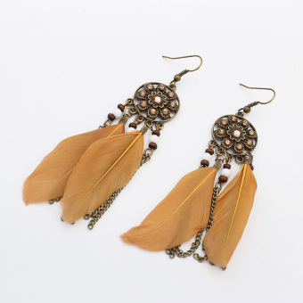 Bohemian feather colorful ear hook earrings European and American earrings
