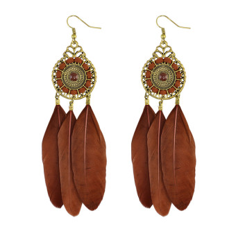 Bohemian female multicolor feather earrings porous stud