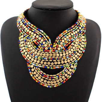 Bohemian ribbon multi-color beads necklace