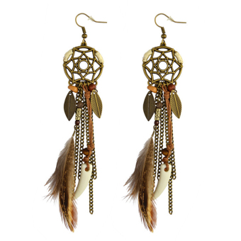 Bohemian tassled handmade female feather earrings