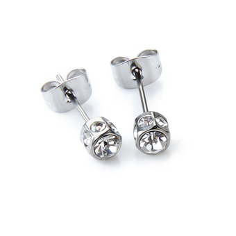 BolehDeals 2pcs Mens Earring Ear Stud Stainless Steel Diamante