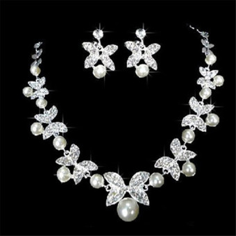 BolehDeals Wedding Bridal Jewelry Set Rhinestone Pearl Butterfly Necklace Earrings