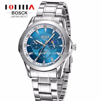 BOSCK Men's Russian Chronograph Style Silver Style Stainless Steel Strap Watch (Blue)