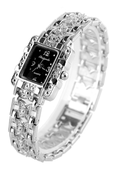 Bracelet Quartz Wrist Watch Silver Butterfly Black Dial
