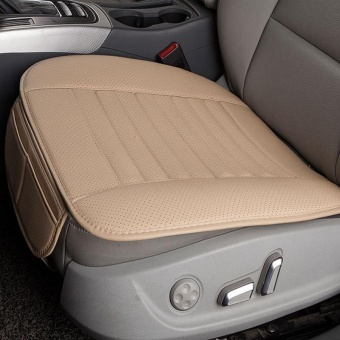 Breathable PU Leather Bamboo Charcoal Car Interior Seat Cover Cushion Pad for Auto Supplies Office Chair Color:Beige - intl