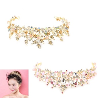 Bridal Princess Austrian Rhinestone Crown Hair Tiara Wedding CrownVeil Headband - intl