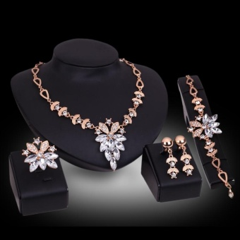 Bridal Wedding Jewelry Set Crystal Rhinestone Charm Necklace &Earrings & pendant & Bracelet Party - intl