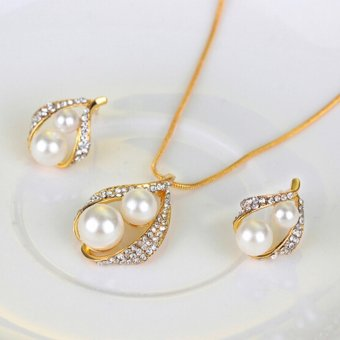 Bridal Wedding Party Jewelry Set Crystal Pearl Necklace EarringsRing - intl - 3