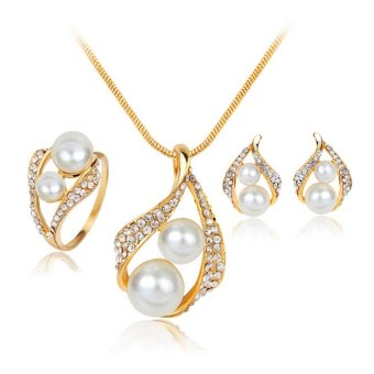 Bridal Wedding Party Jewelry Set Crystal Pearl Necklace EarringsRing - intl - 2