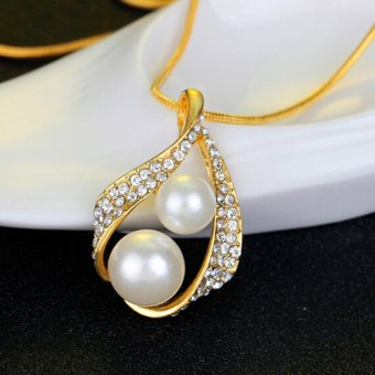Bridal Wedding Party Jewelry Set Crystal Pearl Necklace EarringsRing - intl - 4