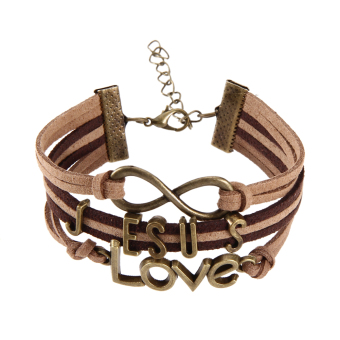Bronze Jesus Love Pendant Girl Boy Braid Bracelet Unisex String Band Bangle